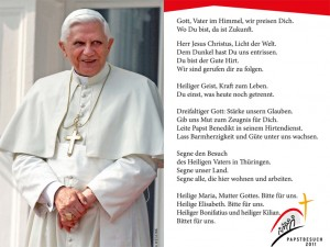 Gebetszettel für Papstbesuch